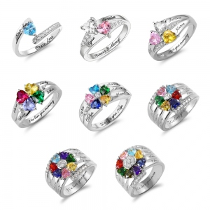 Personalized and Engraved Heart Assortment Birthstones Silver Ring