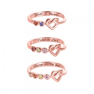 Personalized Birthstone Heart Ring in Rose Gold