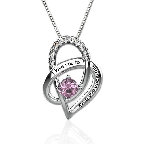 513505bf86 I Love You To The Moon and Back Birthstone Heart Necklace Sterling ...