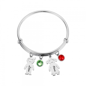 Personalized Kids Charm Bracelet with Birthstone