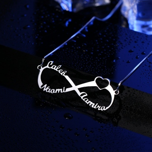 Personalized Infinity Name Necklace Sterling Silver