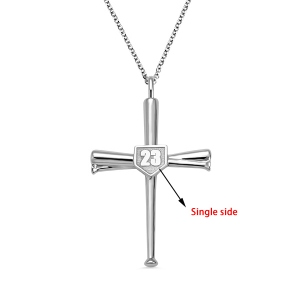 Engraved Single Double-Side Baseball Bat Cross Necklace
