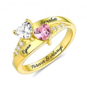 Engraved Double Heart Birthstone Ring Gold Plated