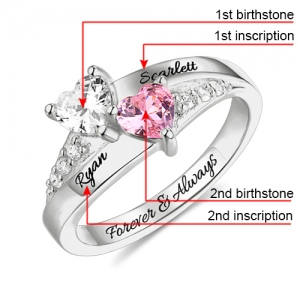 Engraved Double Heart Birthstone Ring in Silver