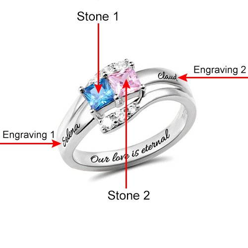 731ad642bc Engraved Two Birthstones Love Promise Ring Sterling Silver