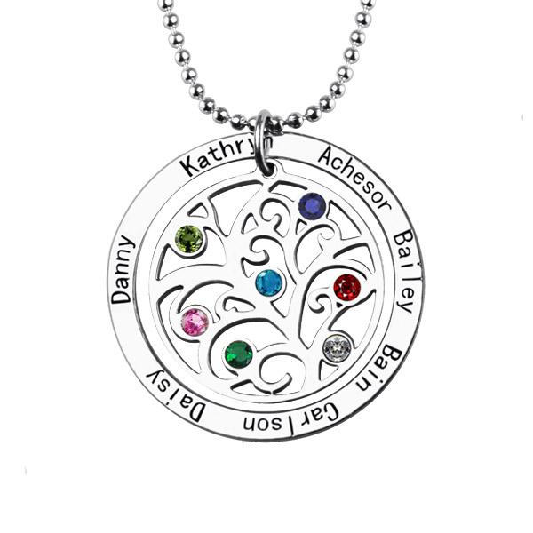 Fashion Elegant Custom Family Tree Pendant Necklace with Birthstone Name Necklace Personalized Necklace