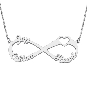 3 Names Sterling Silver Heart Shaped Necklace