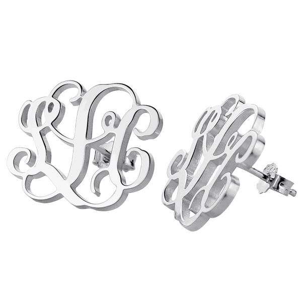9e29f3f13 Sterling Silver Monogram Stud Earring Initial Jewelry for Her