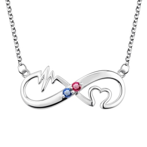 Heartbeat Birthstone Infinity Love Necklace Platinum Plated